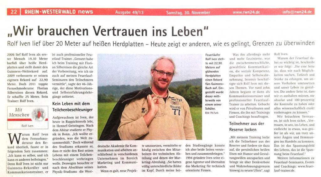 Interview mit Feuerlauf Trainer RolfIven in den Rhein-Westerwald-News